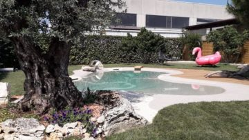 giardino con piscina di design